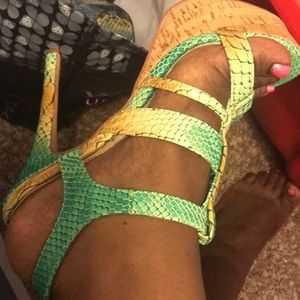 Green and gold faux snake skin heels